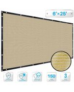 Patio Beige Privacy Screen Fence 6' x 25', with Brass Grommet 88% Blockage, Heavy Duty Commercial Outdoor Shade Windscreen Mesh Fabric- 3 Years Warranty