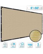 Patio Beige Privacy Screen Fence 6' x 50', with Brass Grommet 88% Blockage, Heavy Duty Commercial Outdoor Shade Windscreen Mesh Fabric- 3 Years Warranty