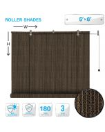 Roll up Shades Roller Shade 5ft W x 6ft H Outdoor Shade Blind Pull Shade Privacy Screen Porch Deck Balcony Pergola Brown