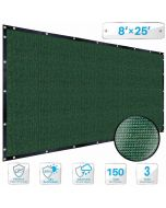 Patio Dark Green Privacy Screen Fence 8' x 25', with Brass Grommet 88% Blockage, Heavy Duty Commercial Outdoor Shade Windscreen Mesh Fabric- 3 Years Warranty