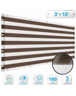 Deck Privacy Screen 3' x 15' Perfect for Outdoor, Backyard, Balcony, Pool, Porch, Railing, Gardening, Fence Shield Rails Protection Brown and White