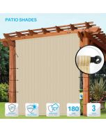 Outdoor Shade Universal Replacement Pergola Canopy Shade Cover 12' x16' Beige with Grommets 2 Sides Weighted Rods Included Shade Screen Panel for Balcony Deck Porch