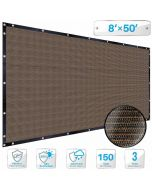 Patio Brown Privacy Screen Fence 8' x 50', with Brass Gromment 88% Blockage, Heavy Duty Commercial Outdoor Shade Windscreen Mesh Fabric- 3 Years Warranty