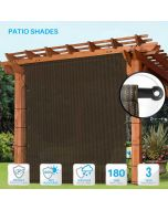 Outdoor Shade Universal Replacement Pergola Canopy Shade Cover 12' x16' Brown with Grommets 2 Sides Weighted Rods Included Shade Screen Panel for Balcony Deck Porch