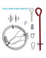 15 Ft One Way Lock Steel Wire Cable and Kit for Soft Ground Mounting for Sun Shade Sail Pole Stand Post Heavy-Duty Awning Canopy Support Poles