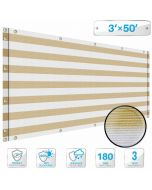 Deck Privacy Screen 3' x 50' Perfect for Outdoor, Backyard, Balcony, Pool, Porch, Railing, Gardening, Fence Shield Rails Protection Beige and White