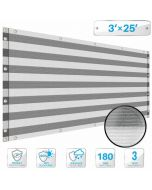 Deck Privacy Screen 3' x 25' Perfect for Outdoor, Backyard, Balcony, Pool, Porch, Railing, Gardening, Fence Shield Rails Protection Gray and White