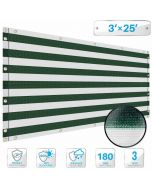 Deck Privacy Screen 3' x 25' Perfect for Outdoor, Backyard, Balcony, Pool, Porch, Railing, Gardening, Fence Shield Rails Protection Green and White